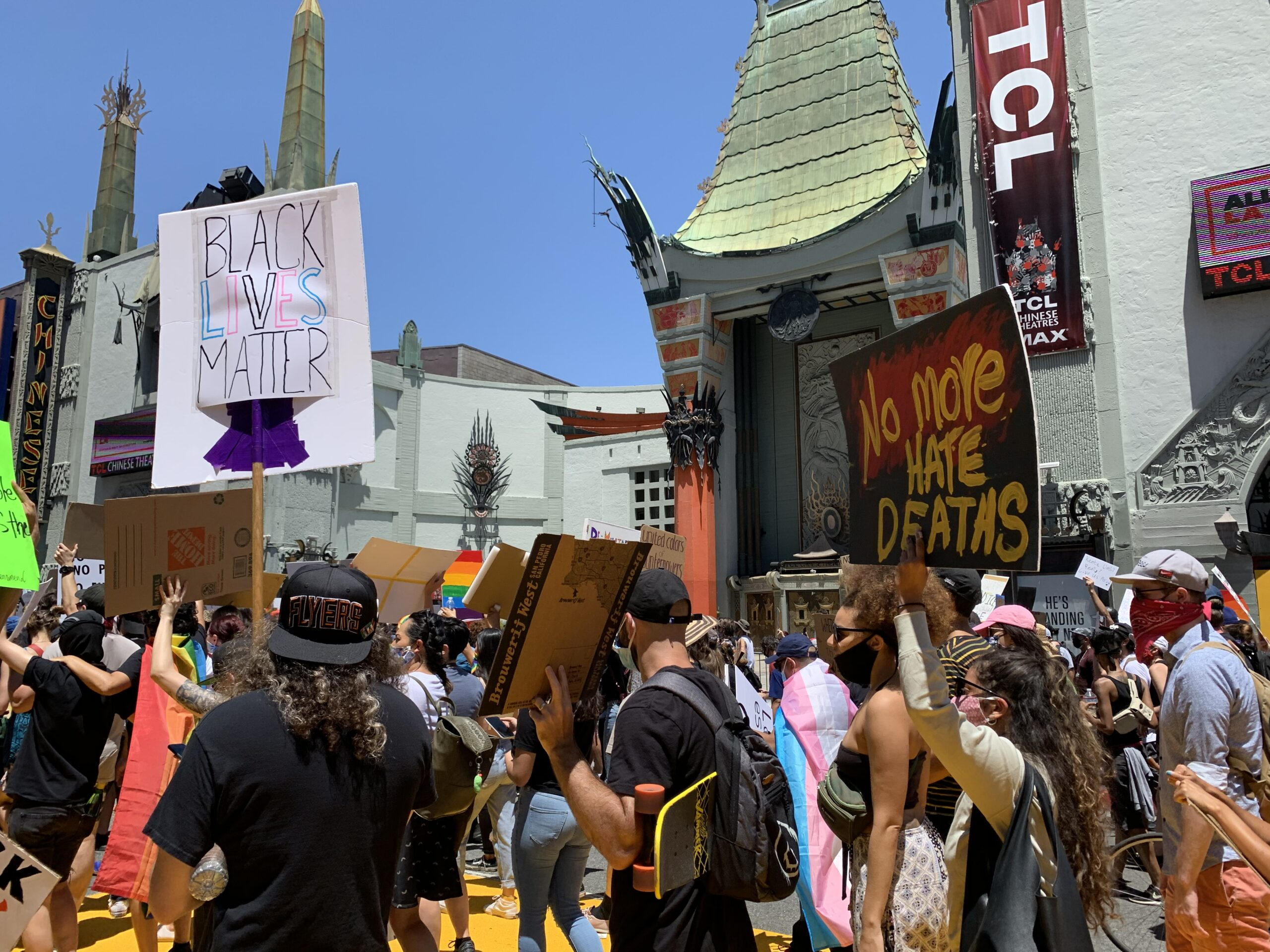 A group of protestors gather to march through the streets of Los Angeles, California