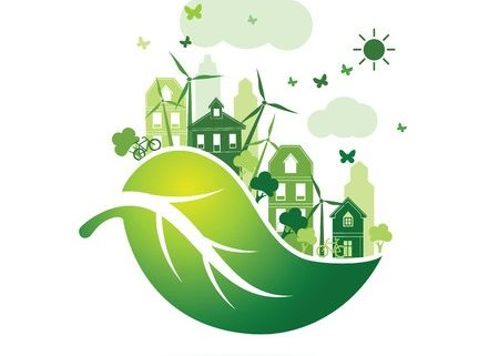 51549139 - green city with green eco leaves concept ,illustration